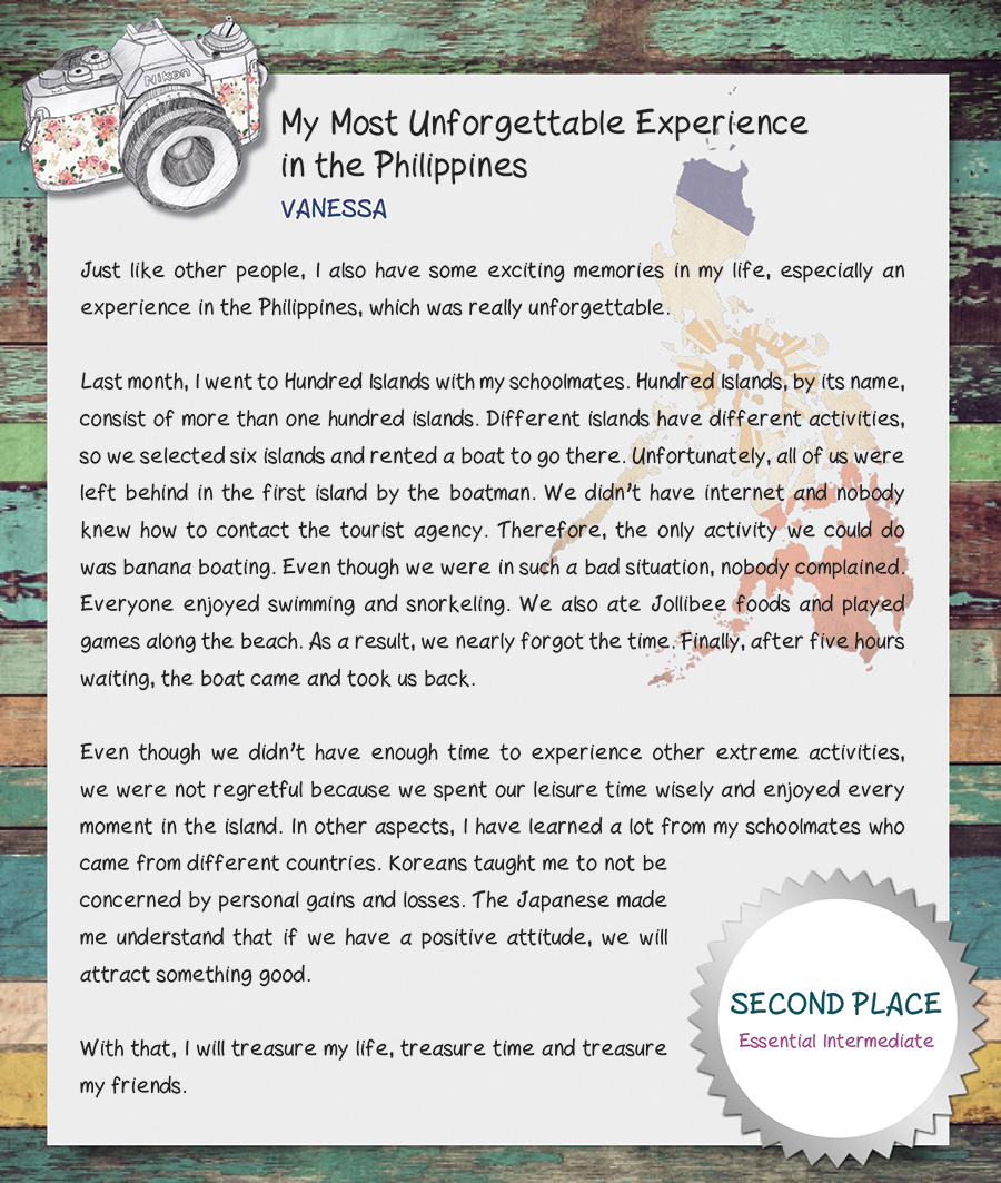 my most memorable moment essay my most memorable moment was about  my most unforgettable experience in the by vanessa 01 vanessa essay
