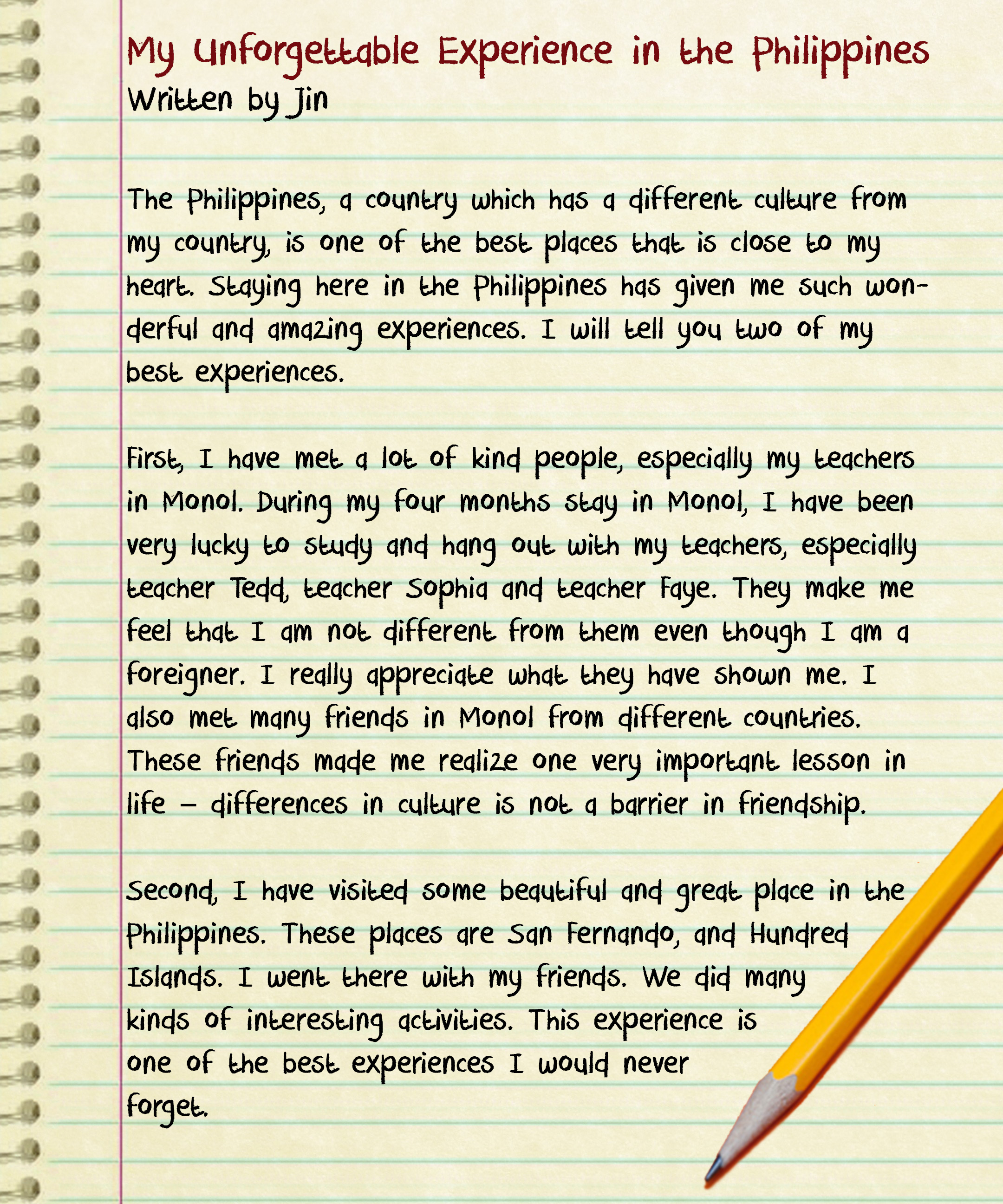 writing experiences essay My writing experiences my experiences in writing have been minimal i have only learned the basics of writing, like putting together sentences, forming paragraphs with sentences, and things like that.